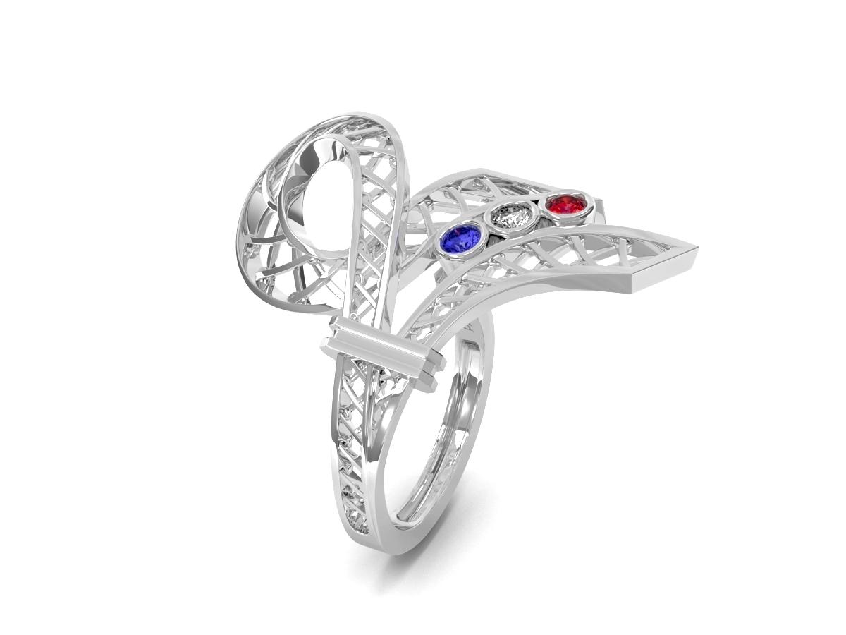 Bague 14 juillet - Saphir, diamant blanc, rubis – Or blanc 18 carats