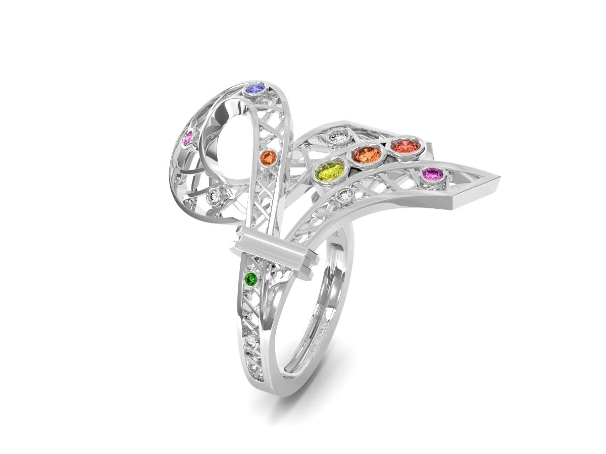Bague Confetti - Saphirs multicolores, diamants & tsavorite – Or blanc 18 carats