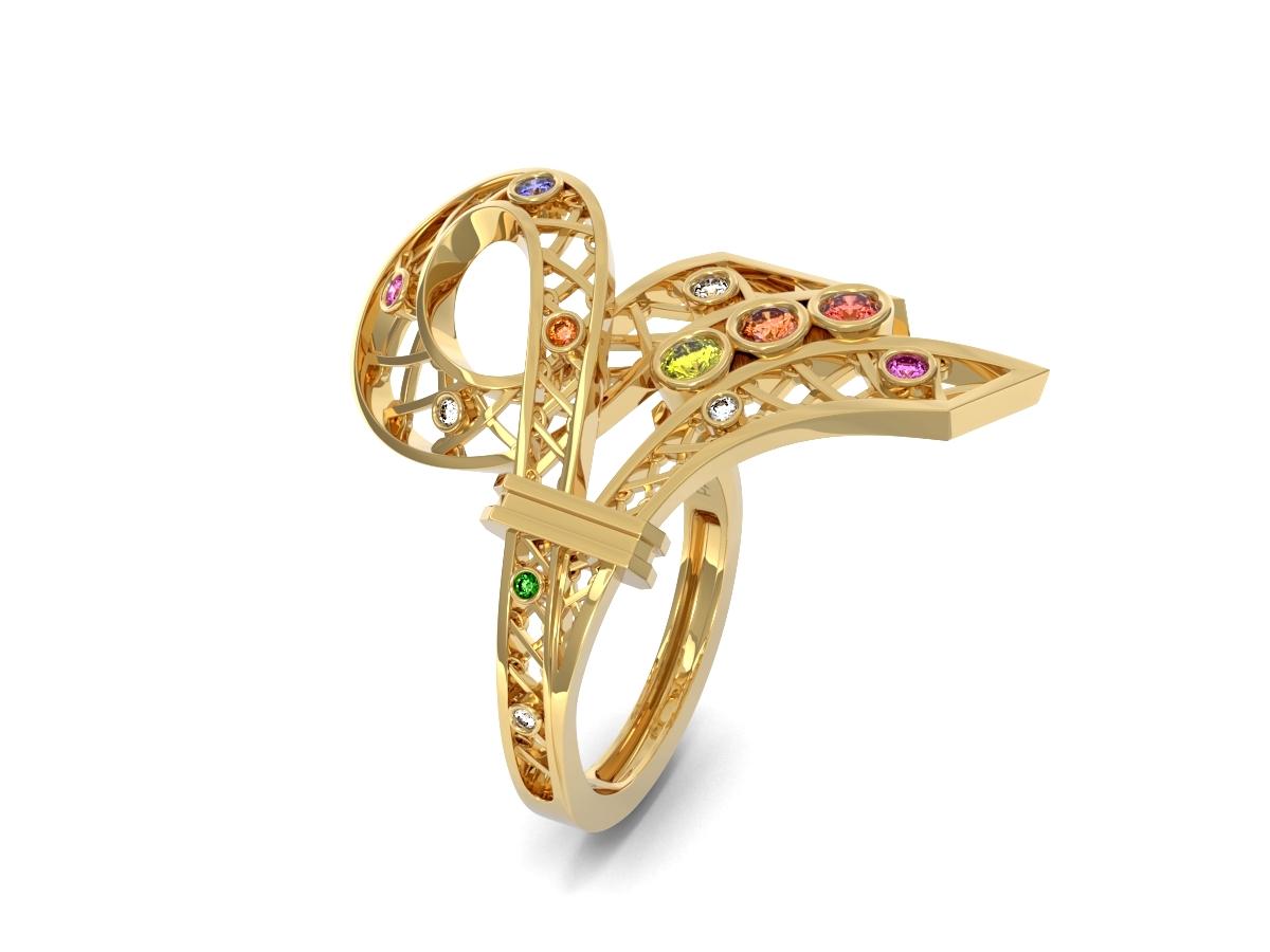 Bague Confetti - Saphirs multicolores, diamants & tsavorite – Or jaune 18 carats