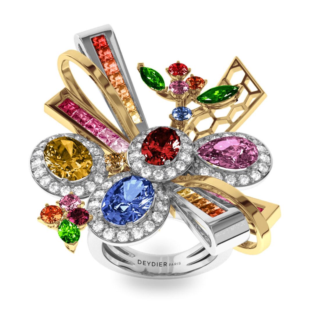 Bague Célébration - Diamants blancs, saphirs & tsavorites <br> Or blanc et jaune 18 carats