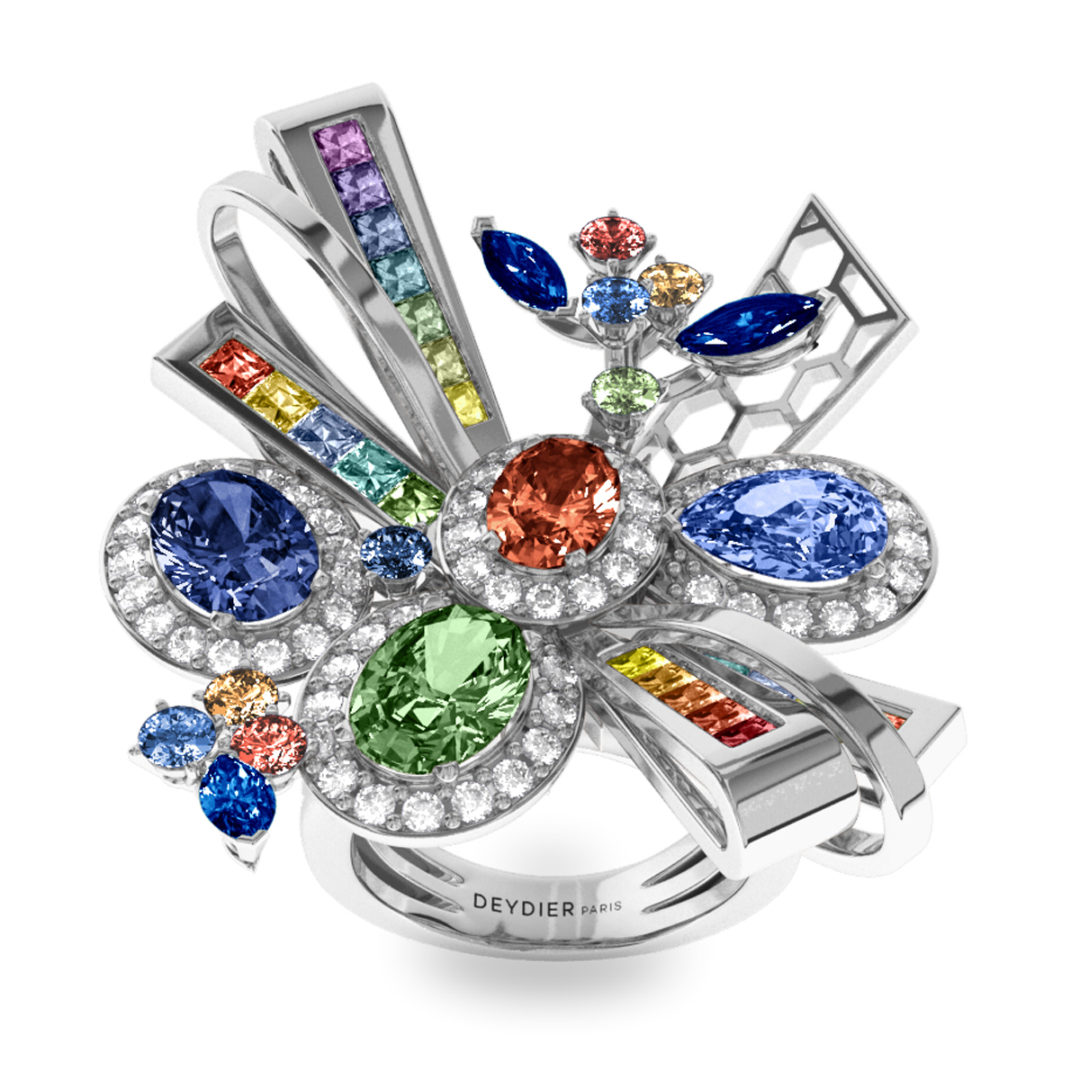 Bague Rainbow - Diamants blancs & saphirs – Or blanc 18 carats