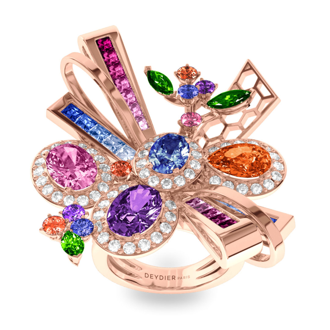 Bague Destiny - Diamants blancs, saphirs & tsavorites – Or rose 18 carats