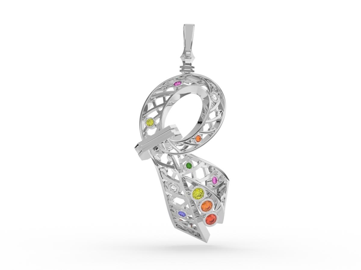 Pendentif Confetti - Diamants blancs – Or blanc 18 carats