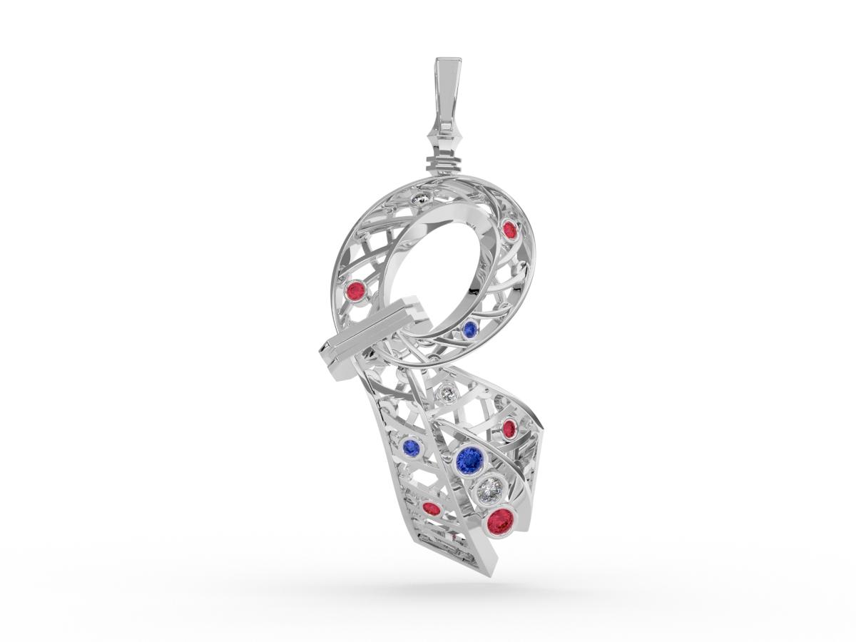 Pendentif 14 juillet - Diamants blancs – Or blanc 18 carats