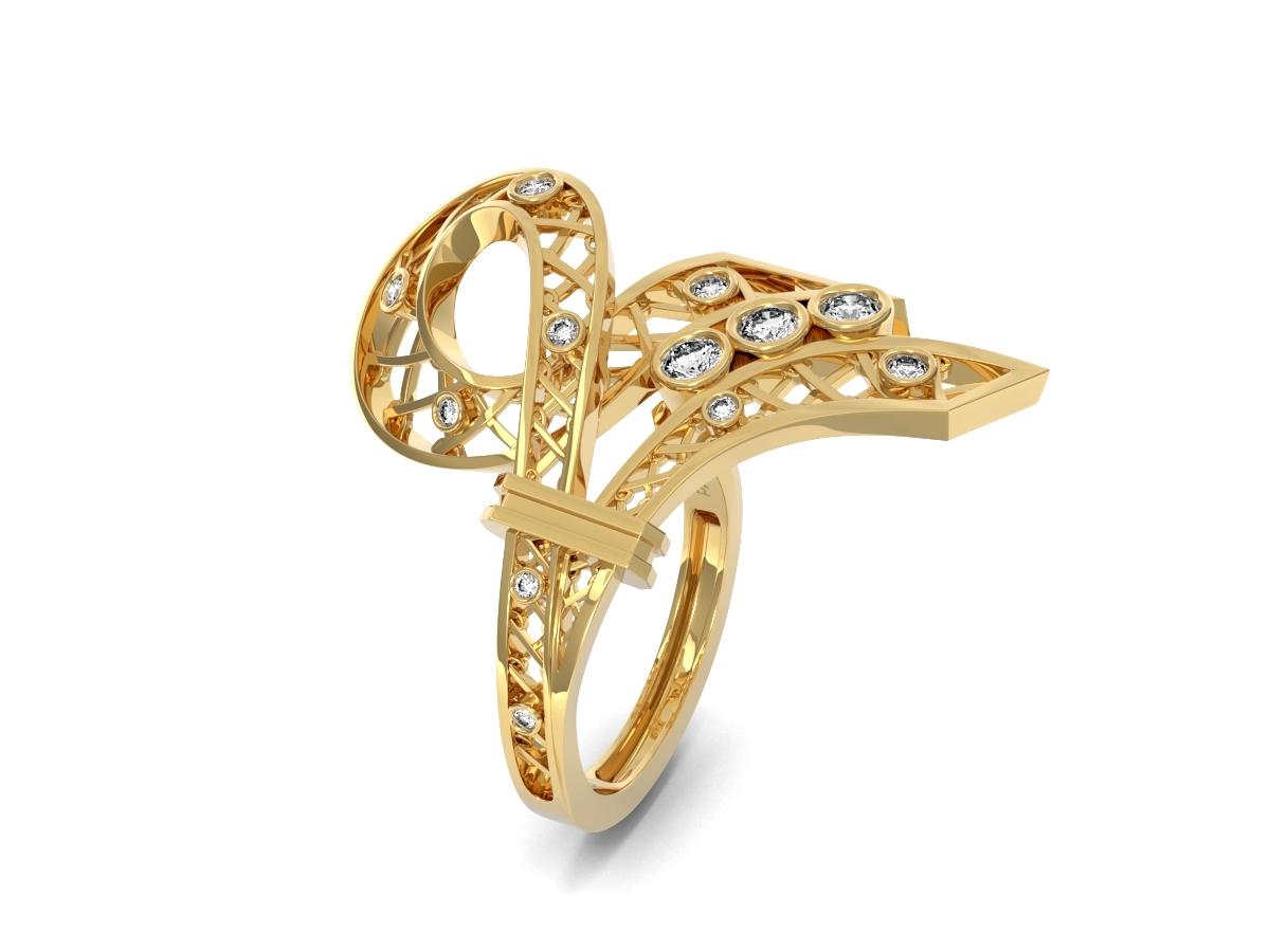 Bague Jubilé - Diamants blancs – Or jaune 18 carats