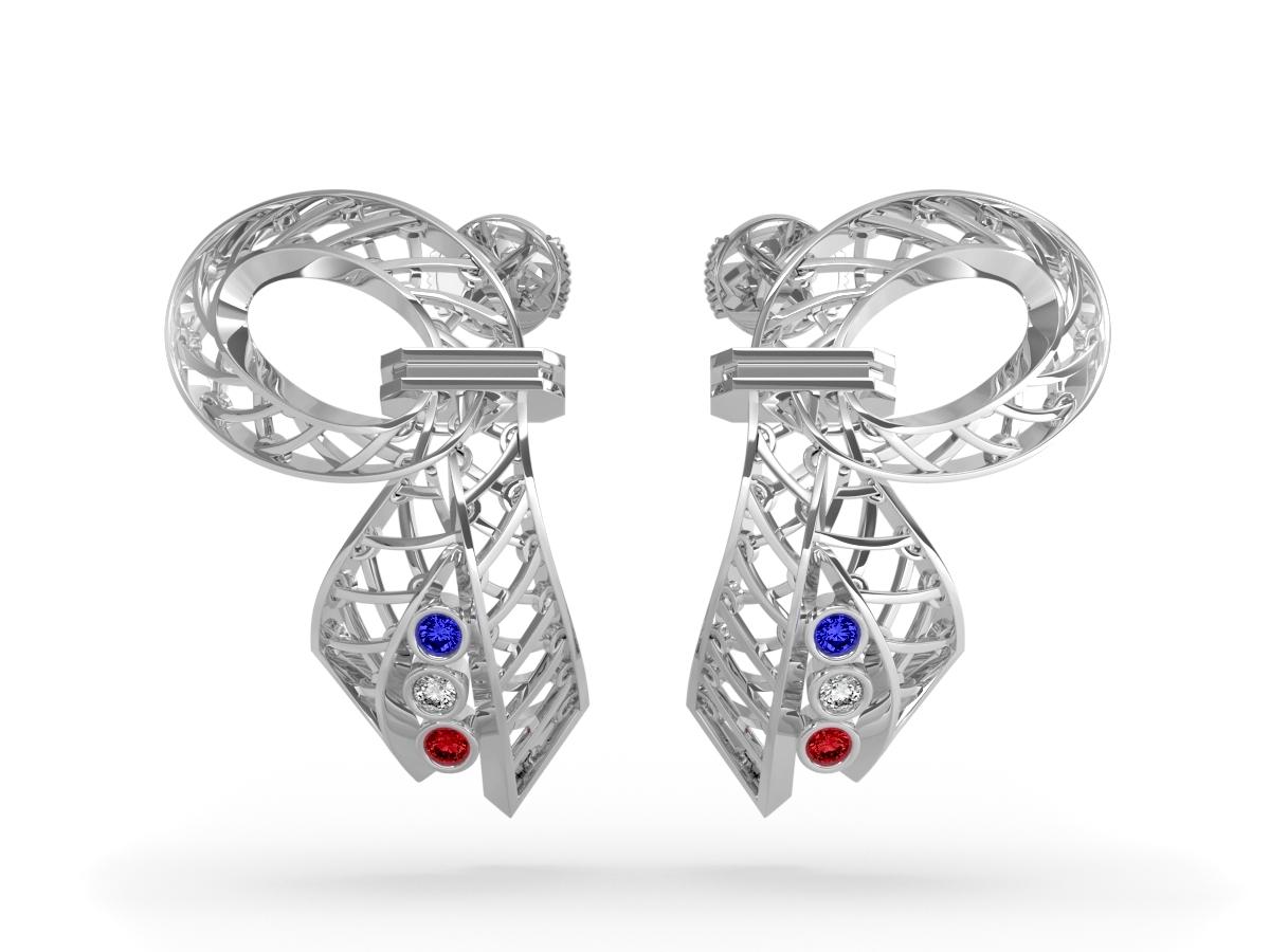 Boucles d'oreilles 14 Juillet - Saphir, diamant blanc, rubis – Or blanc 18 carats