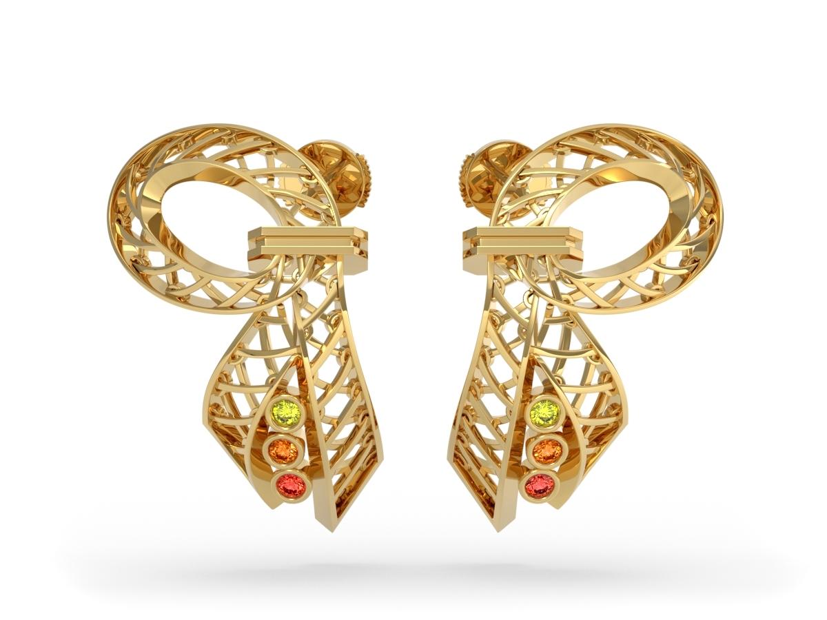 Boucles d'oreilles Confetti - Saphir jaune, orange clair et orange foncé – Or jaune 18 carats
