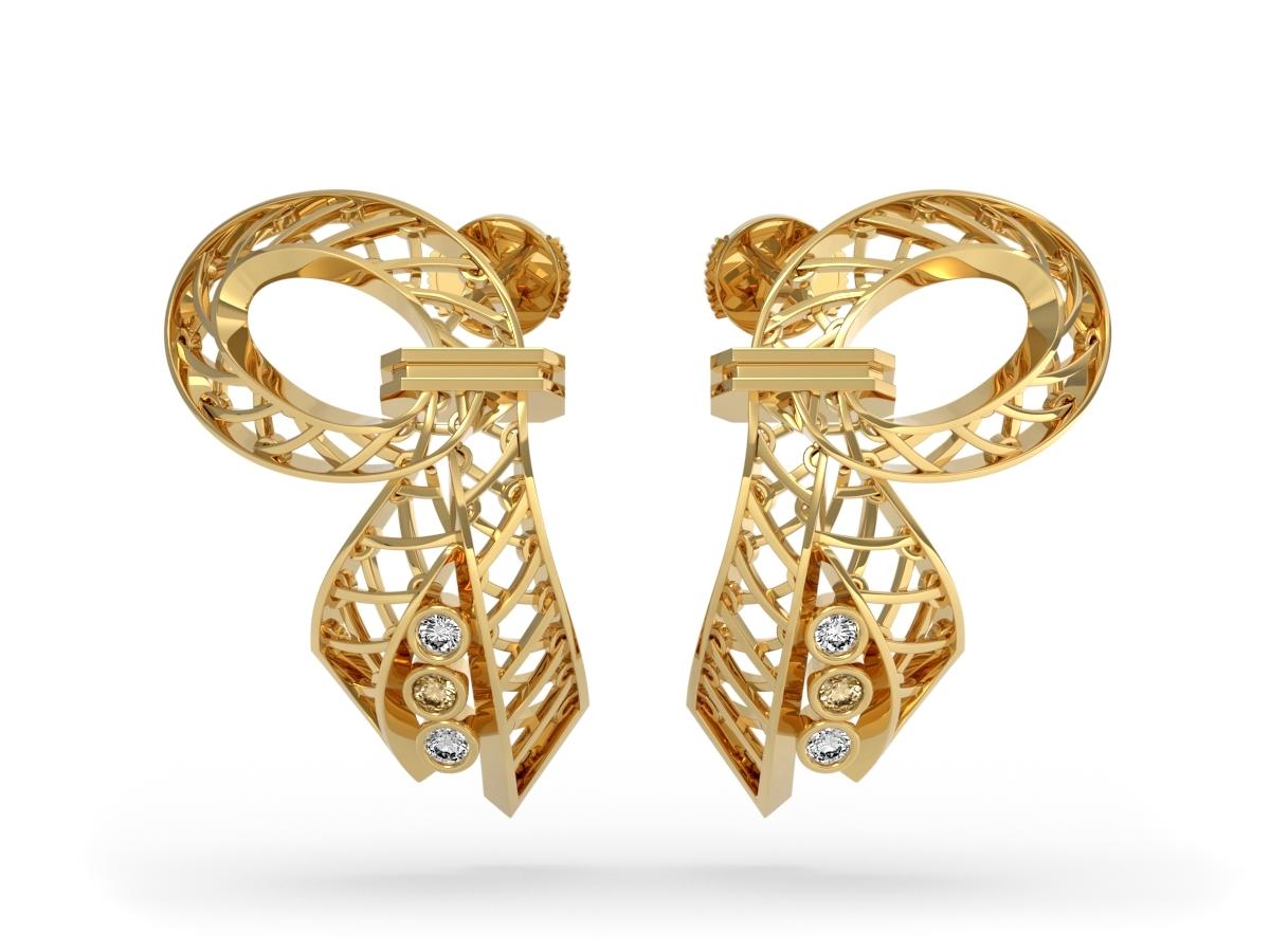 Boucles d'oreilles Gala - Diamants blancs et Champagne – Or jaune 18 carats