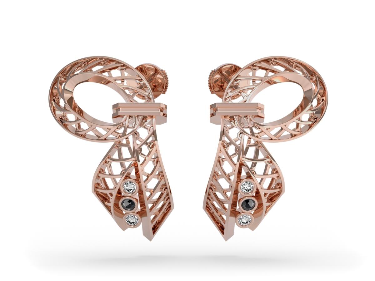 Boucles d'oreilles Diva  - Diamants blancs et noir - Or rose 18 carats