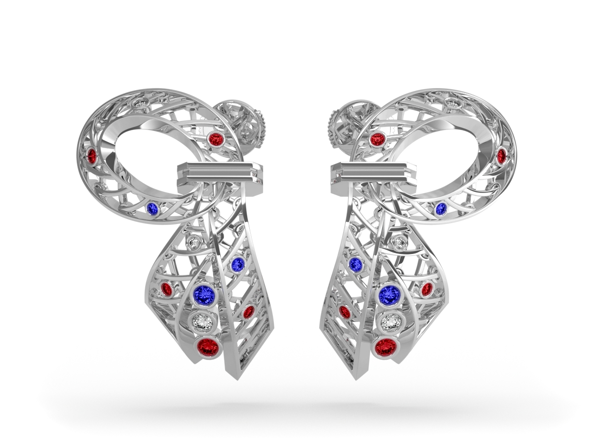 Boucles d'oreilles 14 Juillet - Saphirs, diamants blancs, rubis – Or blanc 18 carats