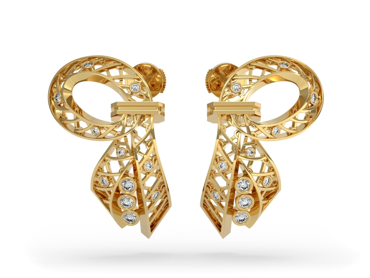 Boucles d'oreilles Jubilé - Diamants blancs – Or jaune 18 carats