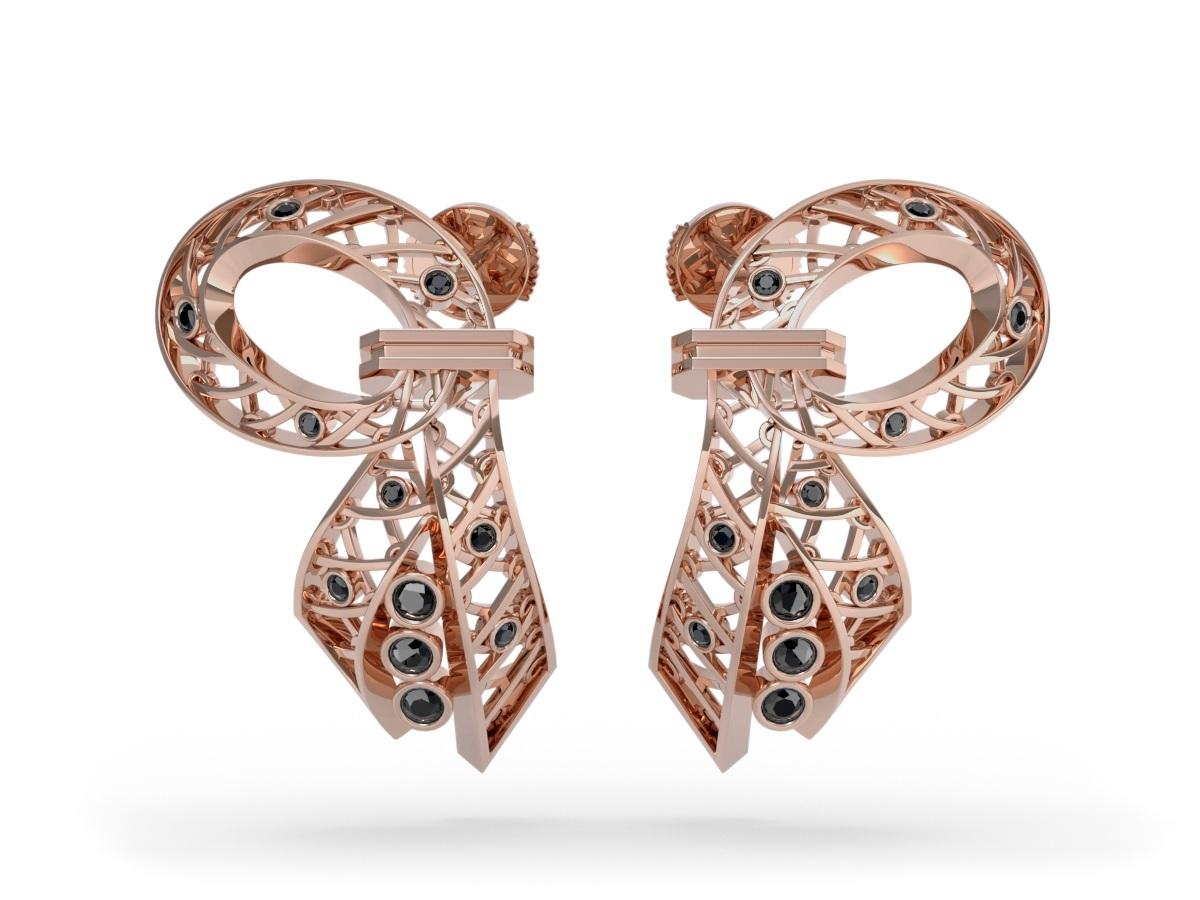 Boucles d'oreilles Diva Black - Diamants noirs – Or rose 18 carats
