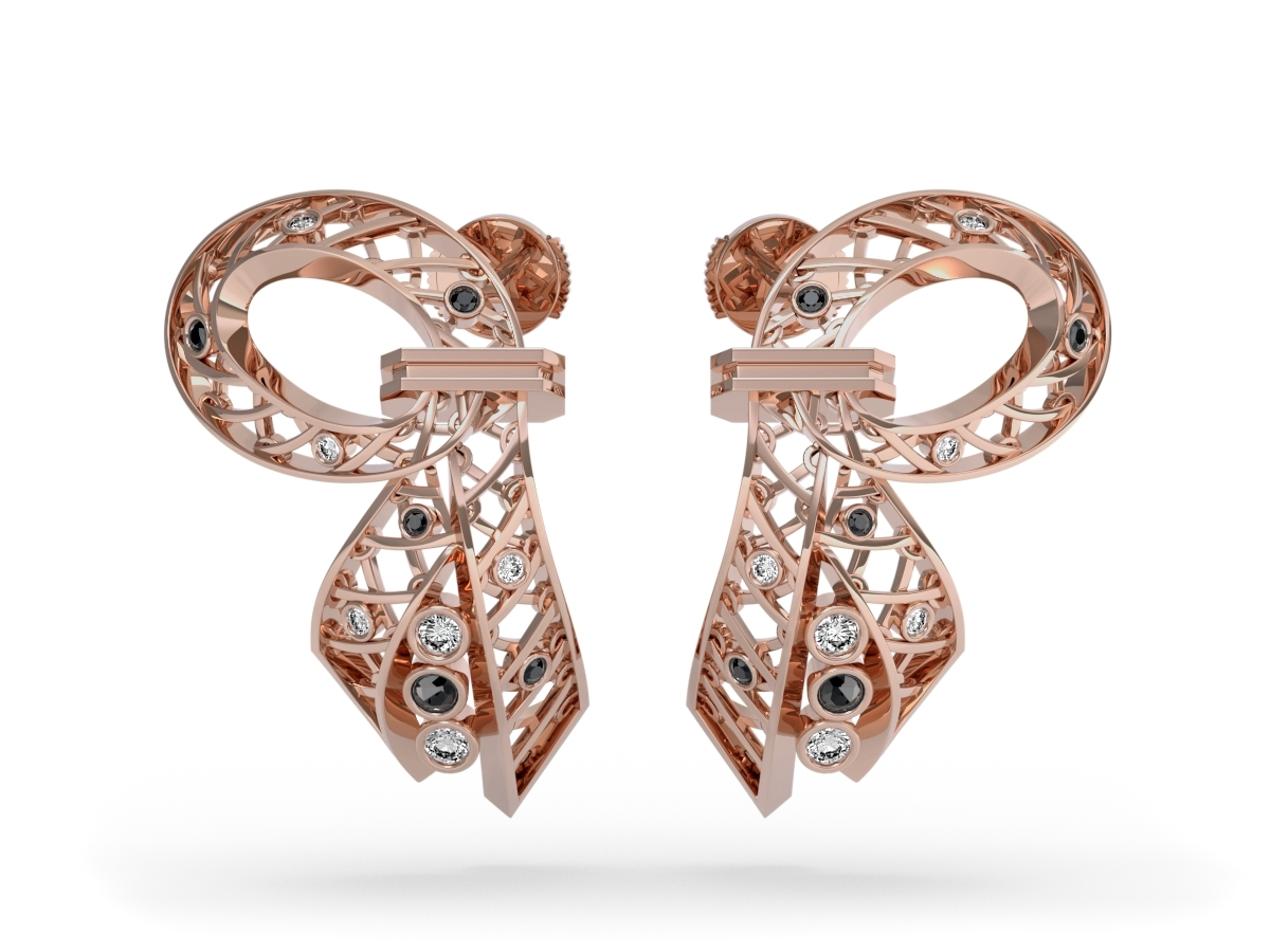 Boucles d'oreilles Diva  - Diamants blancs et noirs – Or rose 18 carats