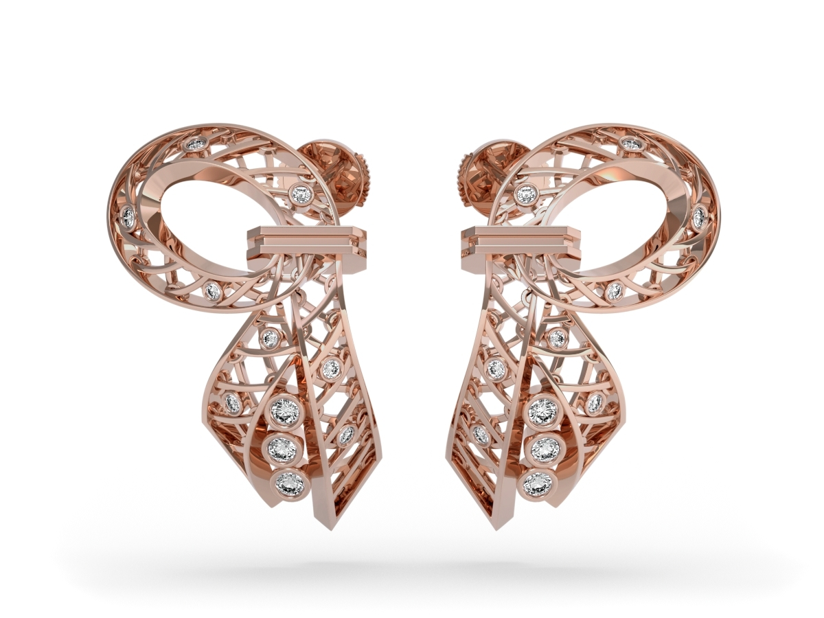 Boucles d'oreilles Jubilé - Diamants blancs – Or rose 18 carats