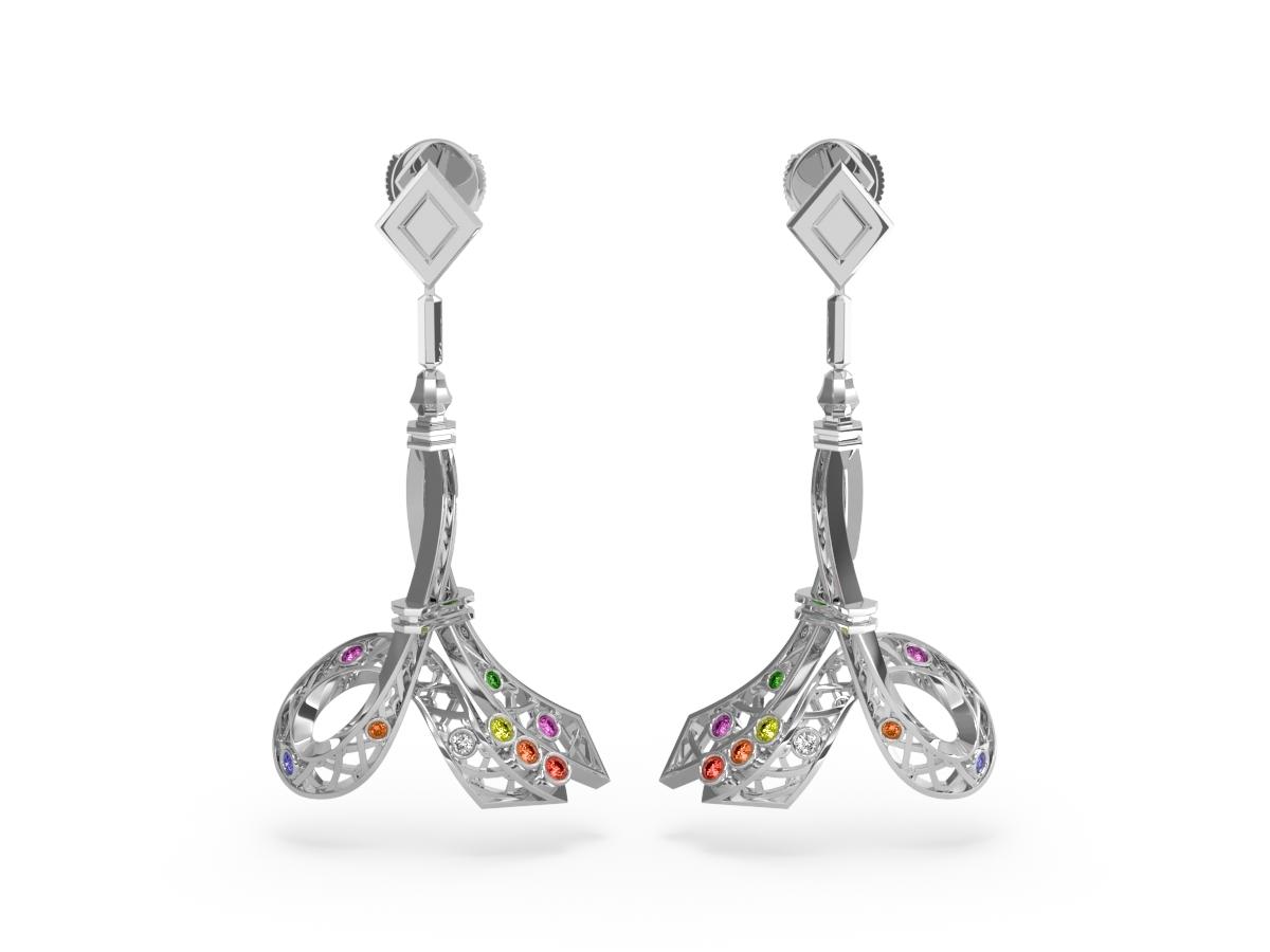 Boucles d'oreilles Confetti - Saphirs multicolores, diamants & tsavorite – Or blanc 18 carats