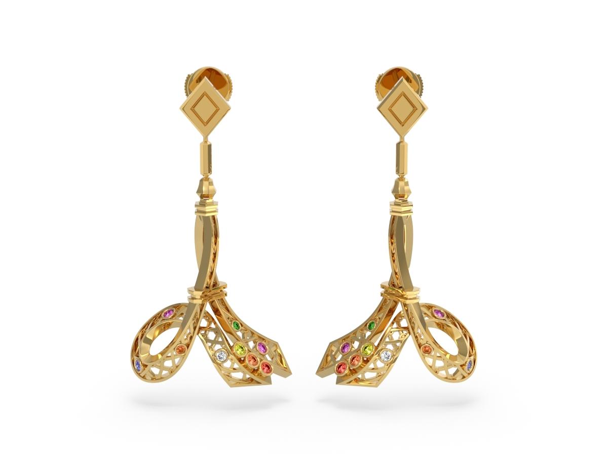 Boucles d'oreilles Confetti - Saphirs multicolores, diamants & tsavorite – Or jaune 18 carats