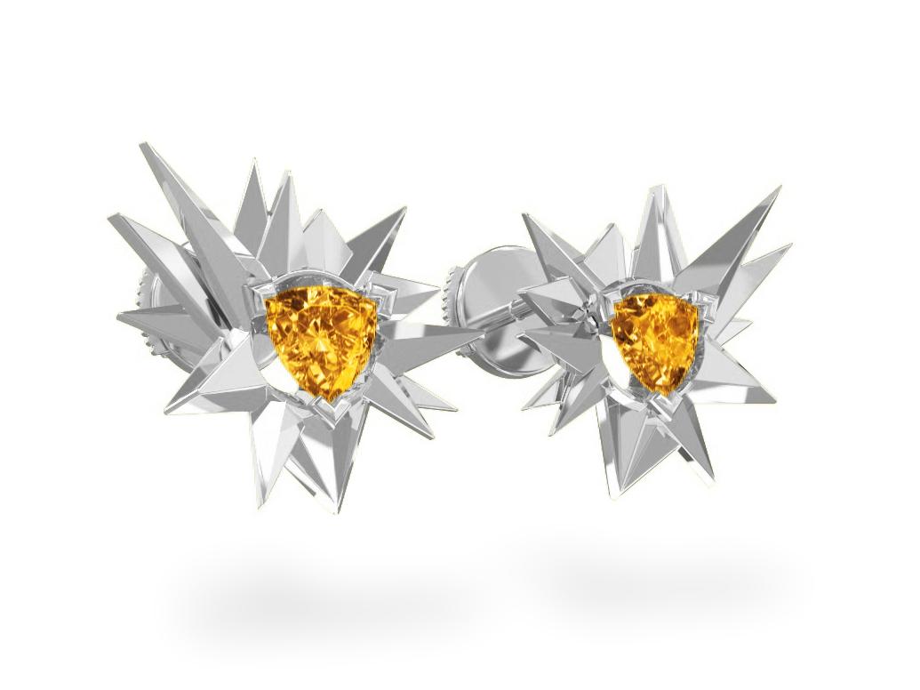 Boucles d'oreilles Fleur de Givre Sun - Citrine Trillion <br> Or blanc 18 carats