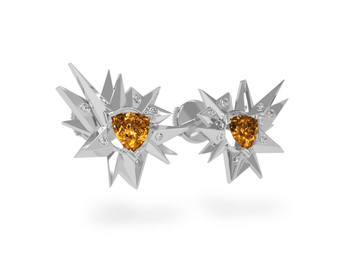 Boucles d'oreilles Fleur de Givre Sun Glacier White - Diamants blancs - Citrine