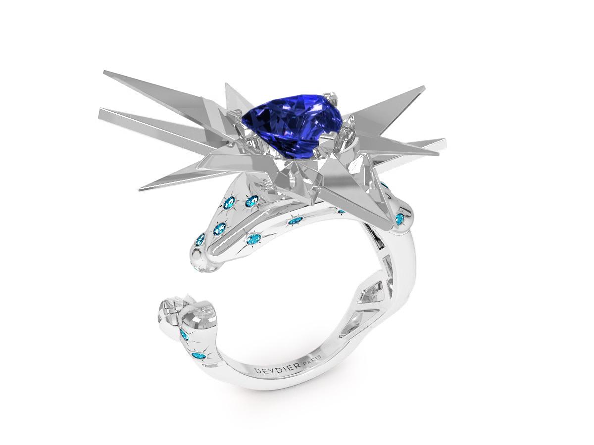 Bague Night Glacier Blue - Diamants bleus - Tanzanite Trillion <br> Or blanc 18 carats