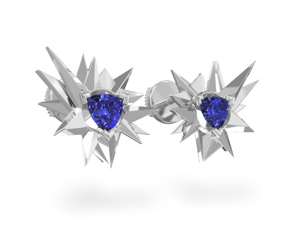 Boucles d'oreilles Fleur de Givre Night - Tanzanite Trillion <br>Or blanc 18 carats