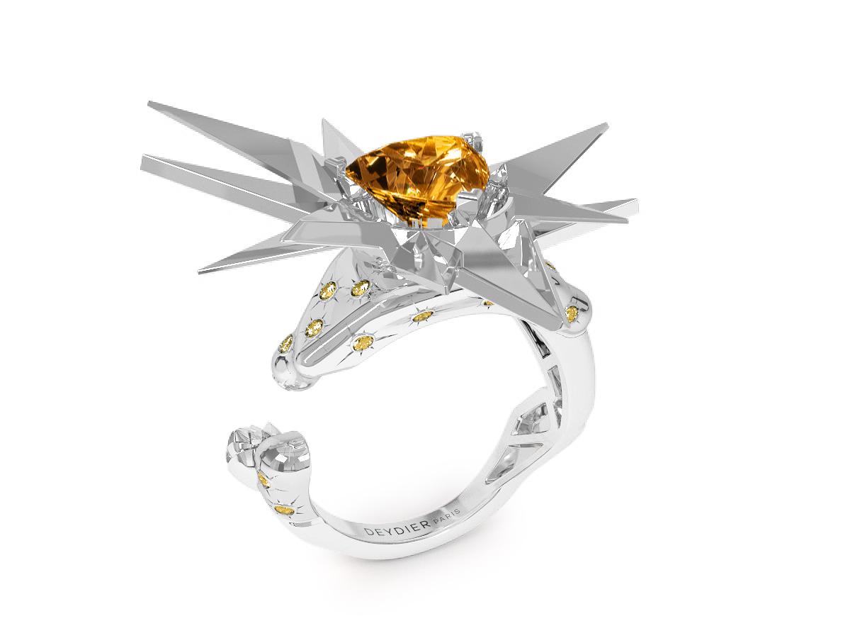 Bague Sun glacier Yellow - Diamants jaunes - Citrine Trillion <br> Or blanc 18 carats