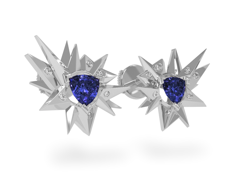 Boucles d'oreilles Fleur de Givre Night Glacier White - Diamants blancs - Tanzanite Trillion <br> Or blanc 18 carats