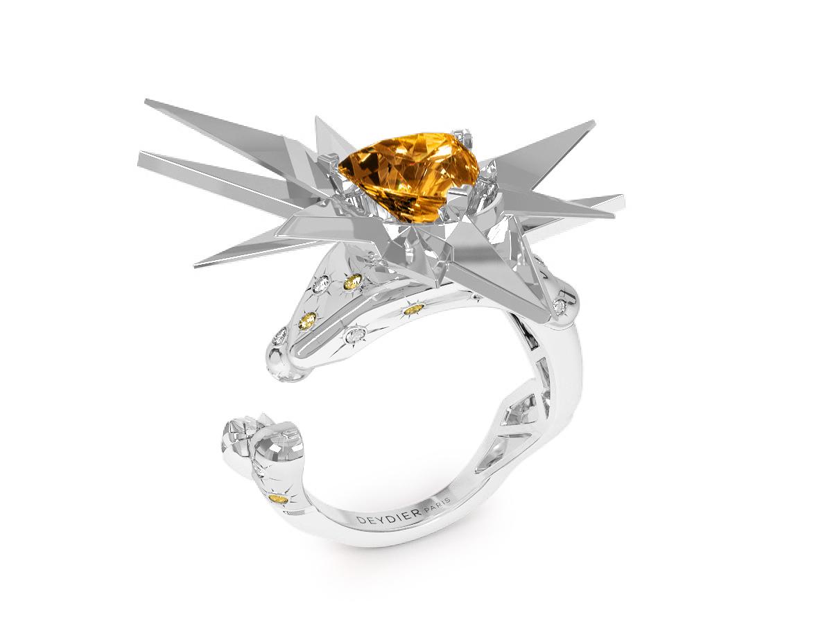 Bague Sun Glacier Yellow & White - Diamants blancs et jaunes - Citrine Trillion <br> Or blanc 18 carats