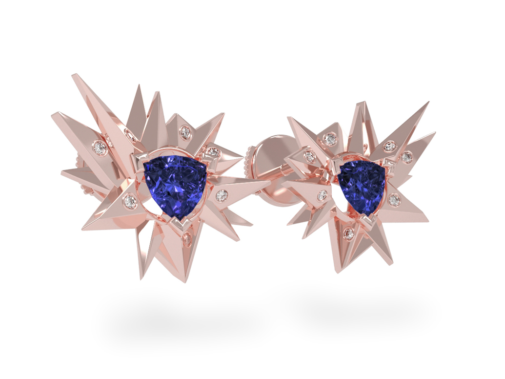 Boucles d'oreilles Fleur de Givre Night Glacier White - Diamants blancs - Tanzanite Trillion <br> Or rose 18 carats