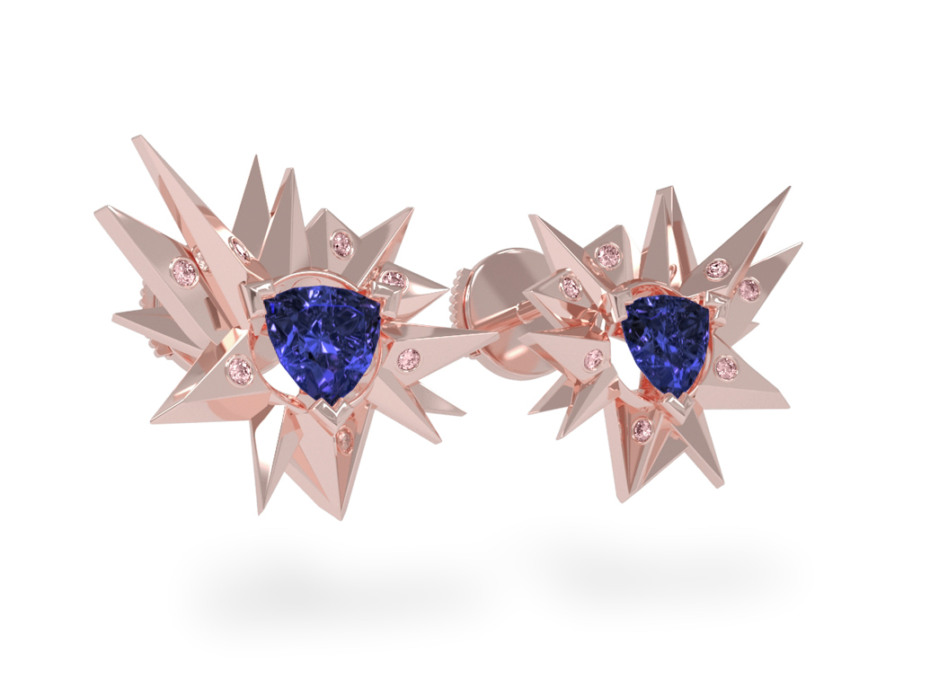 Boucles d'oreilles Fleur de Givre Night Glacier Pink - Diamants roses - Tanzanite Trillion <br> Or rose 18 carats