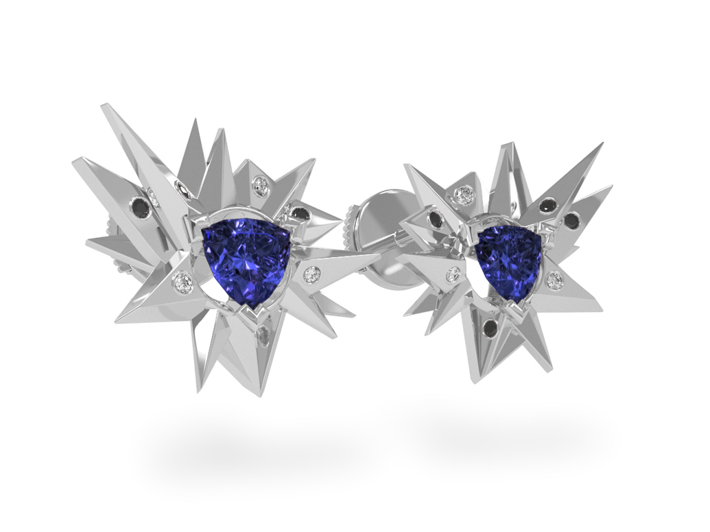 Boucles d'oreilles Fleur de Givre Night Glacier Black & White - Diamants blancs et noirs - Tanzanite