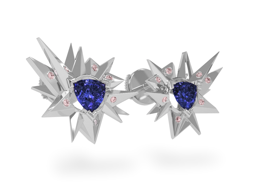 Boucles d'oreilles Fleur de Givre Night Glacier Pink - Diamants rose - Tanzanite Trillion <br> Or blanc 18 carats