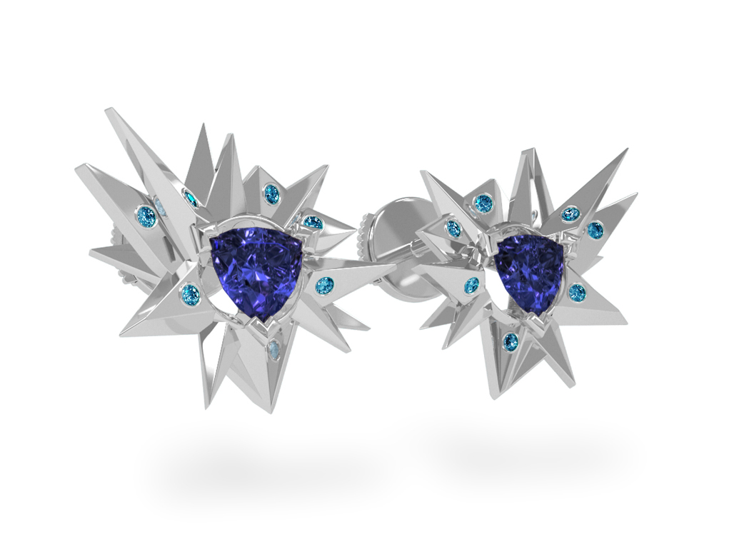 Boucles d'oreilles Fleur de Givre Night Glacier Blue - Diamants bleus - Tanzanite Trillion <br> Or blanc 18 carats