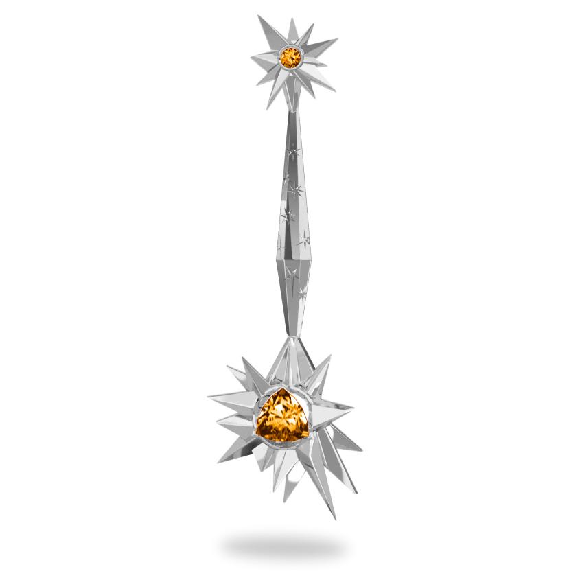 Pendentif Glaçon Sun - Citrine Trillion <br> Gravures polies étoiles <br/> Or blanc 18 carats