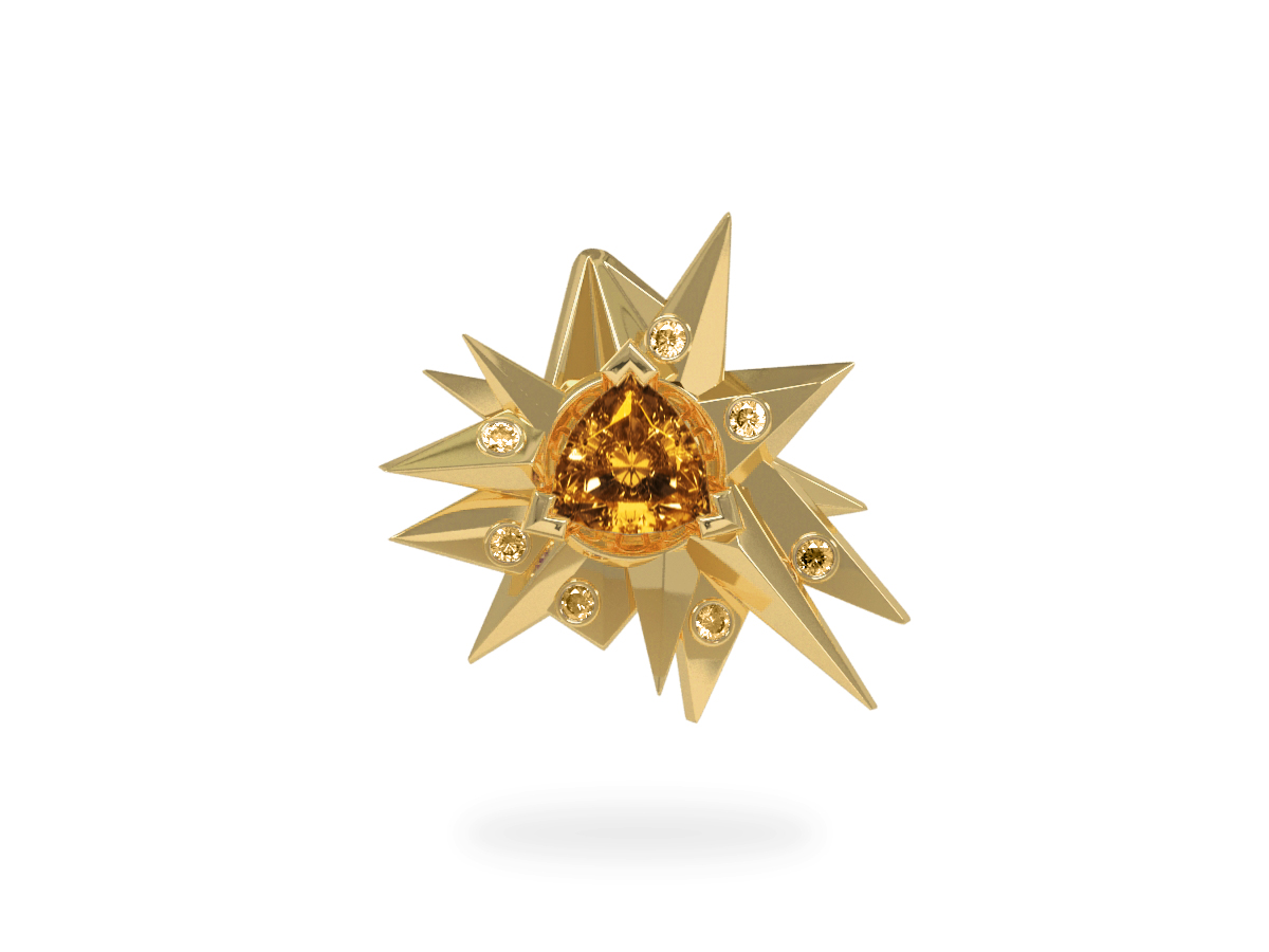 Pendentif Fleur de Givre Sun Glacier Yellow - Diamants jaunes - Citrine Trillion <br> Or blanc et jaune 18 carats