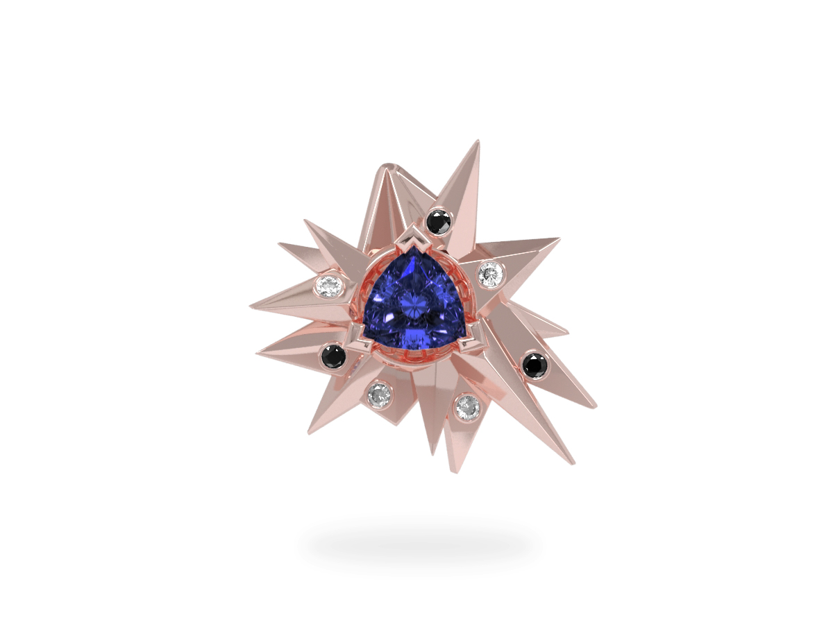 Pendentif Fleur de Givre Night Glacier Black & White - Diamants blancs et noirs - Tanzanite Trillion <br> Or blanc et rose 18 carats