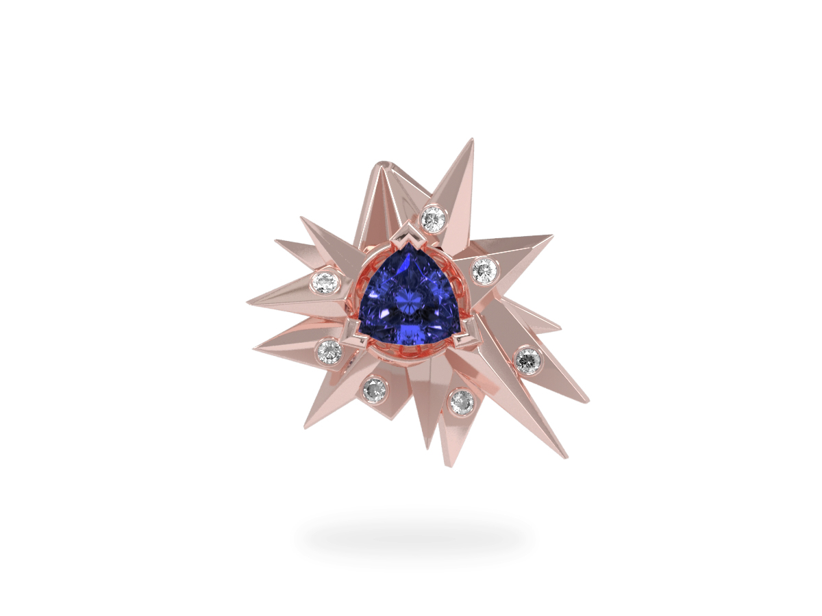 Pendentif Fleur de Givre Night Glacier White - Diamants blancs - Tanzanite Trillion <br> Or blanc et rose 18 carats