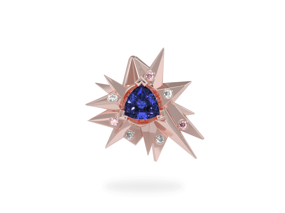 Pendentif Fleur de Givre Night Glacier Pink & White - Diamants blancs et roses - Tanzanite Trillion <br> Or blanc et rose 18 carats