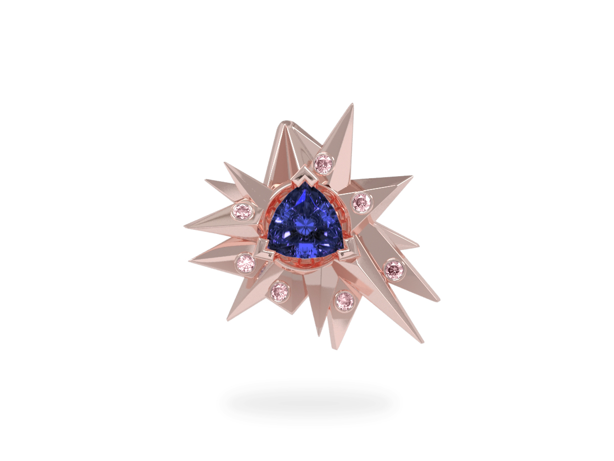 Pendentif Fleur de Givre Night Glacier Pink - Diamants roses - Tanzanite Trillion <br> Or blanc et rose 18 carats