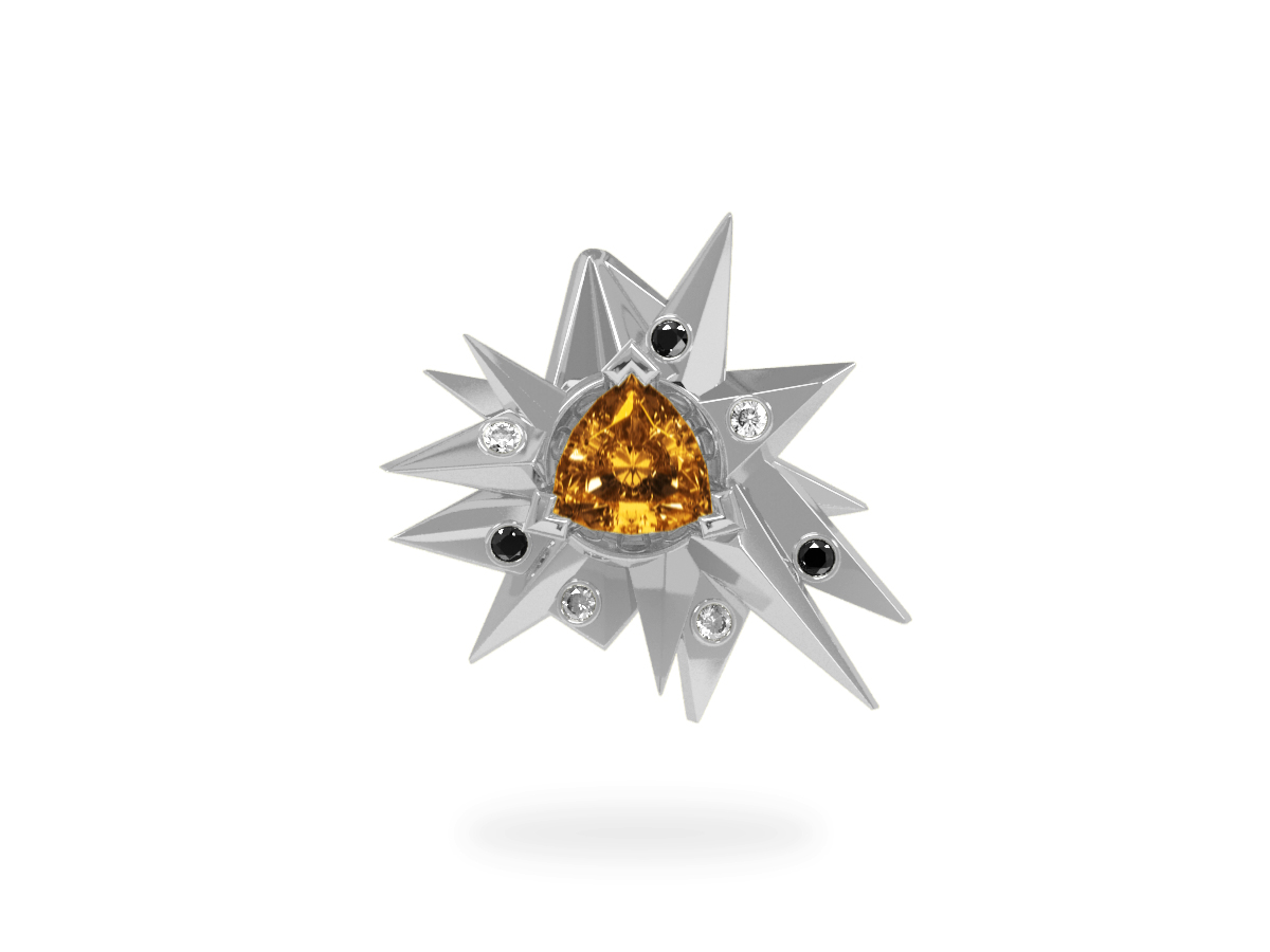 Pendentif Fleur de Givre Sun Glacier Black And White - Diamants blancs et noirs - Citrine Trillion <br> Or blanc 18 carats