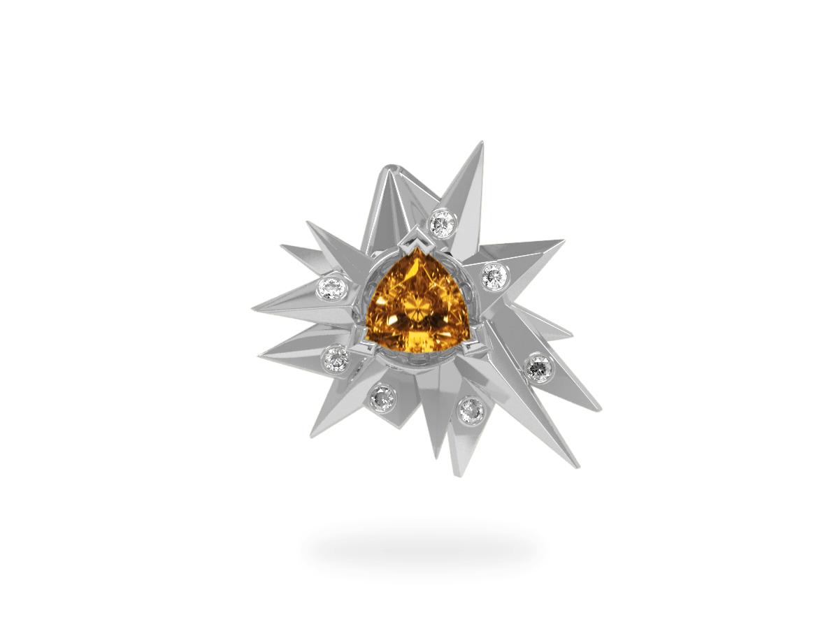 Pendentif Fleur de Givre Sun Glacier White - Diamants blancs - Citrine Trillion <br> Or blanc 18 carats