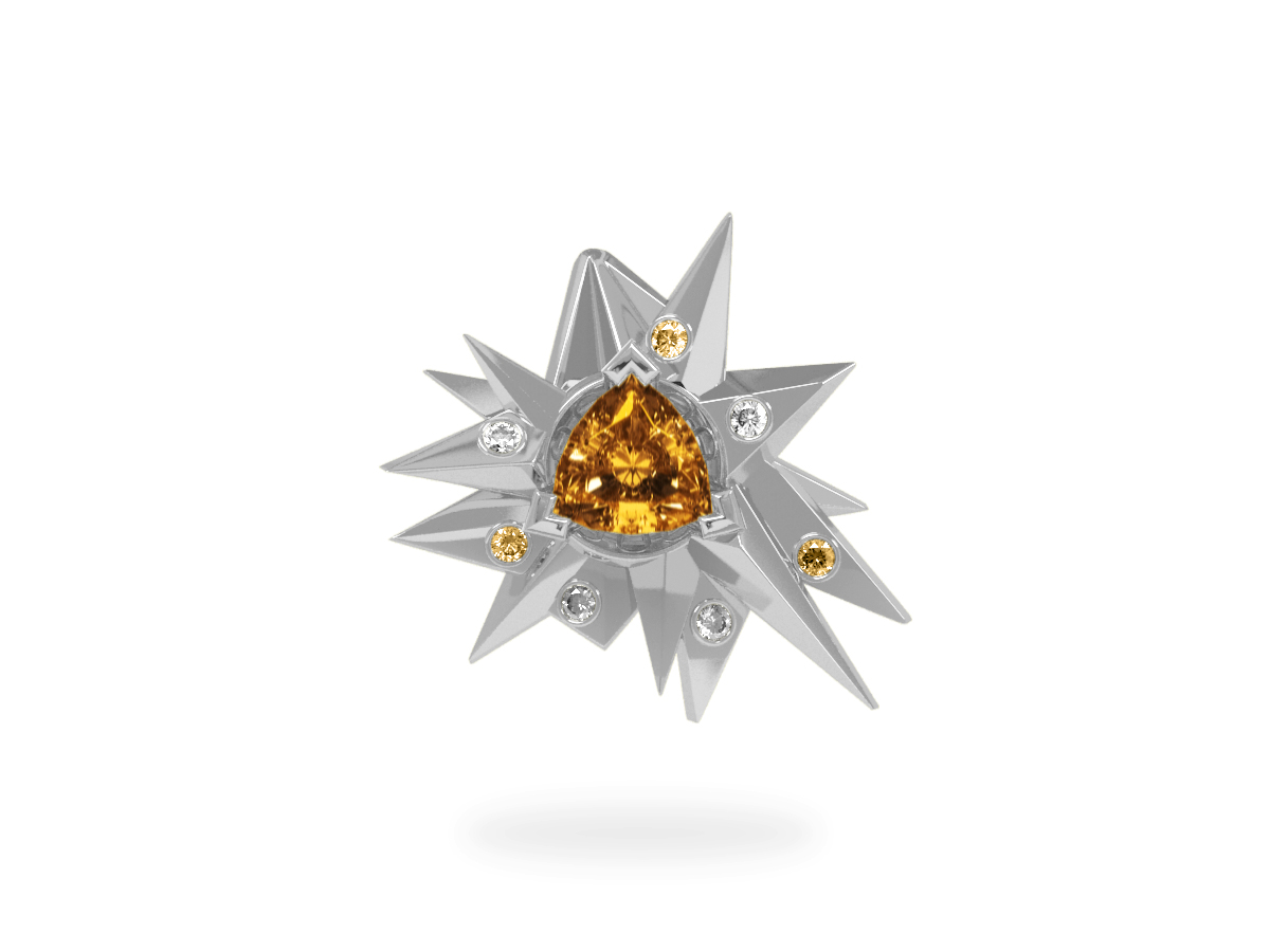 Pendentif Fleur de Givre Sun Glacier Yellow & White - Diamants blancs et jaunes - Citrine Trillion <br> Or blanc 18 carats