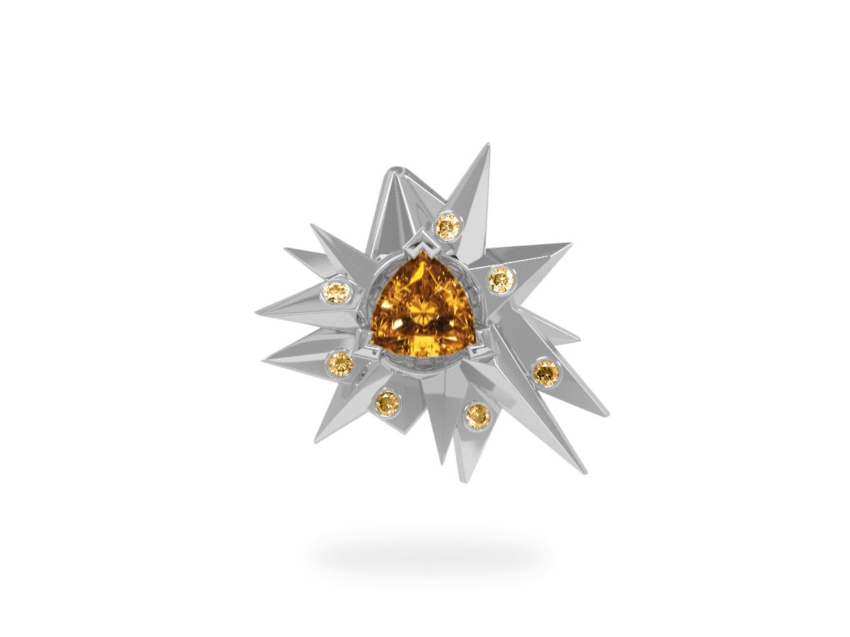 Pendentif Fleur de Givre Sun Glacier Yellow - Diamants jaunes - Citrine Trillion <br> Or blanc 18 carats