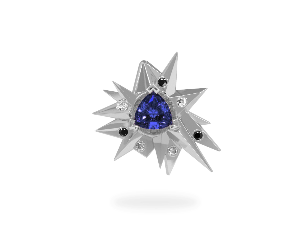 Pendentif Fleur de Givre Night Glacier Black & White - Diamants blancs et noirs - Tanzanite Trillion <br> Or blanc 18 carats