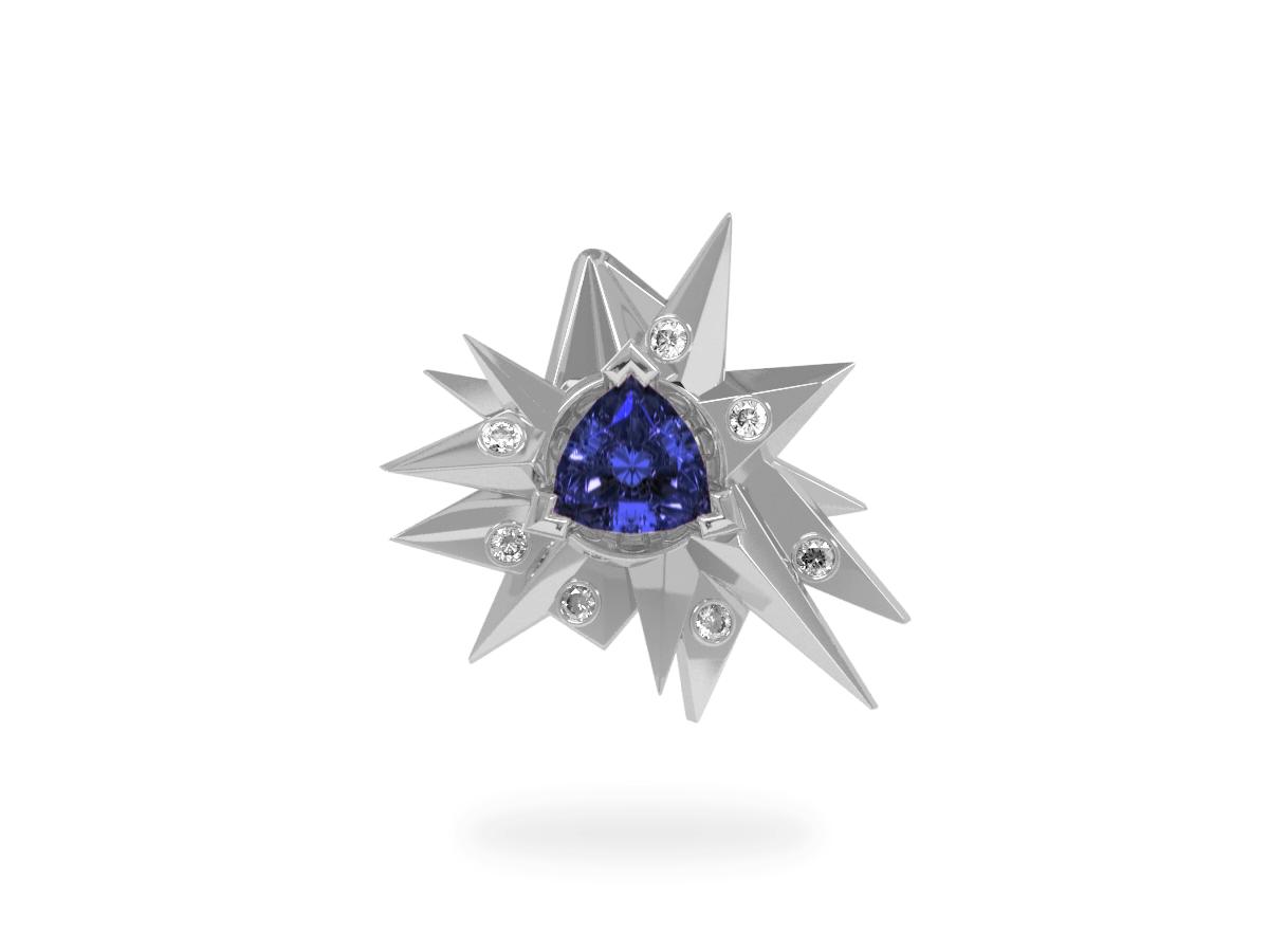 Pendentif Fleur de Givre Night Glacier White - Diamants blancs - Tanzanite Trillion <br> Or blanc 18 carats