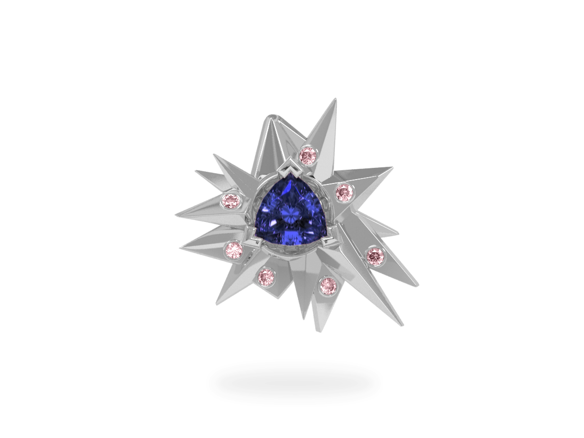 Pendentif Fleur de Givre Night Glacier Pink - Diamants roses - Tanzanite Trillion <br> Or blanc 18 carats
