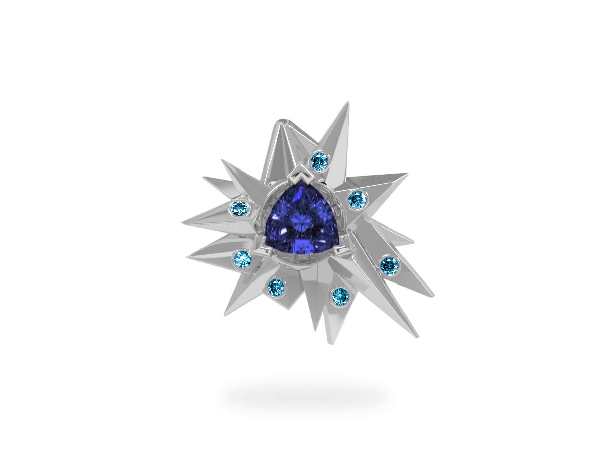 Pendentif Fleur de Givre Night Glacier Blue - Diamants bleus - Tanzanite Trillion <br> Or blanc 18 carats