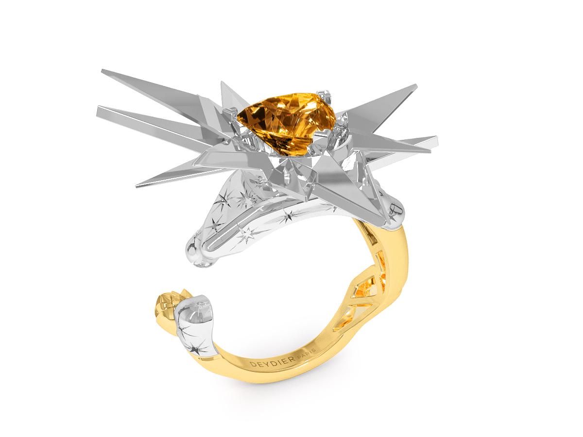 Bague Sun - Citrine Trillion <br>Gravures polies étoiles<br/>  Or jaune & blanc 18 carats