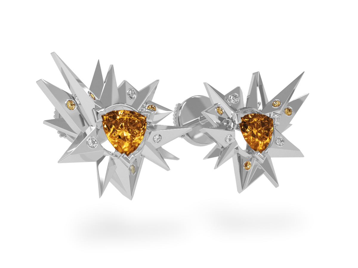 Boucles d'oreilles Fleur de Givre Sun Glacier Yellow & White - Diamants blancs et jaunes - Citrine