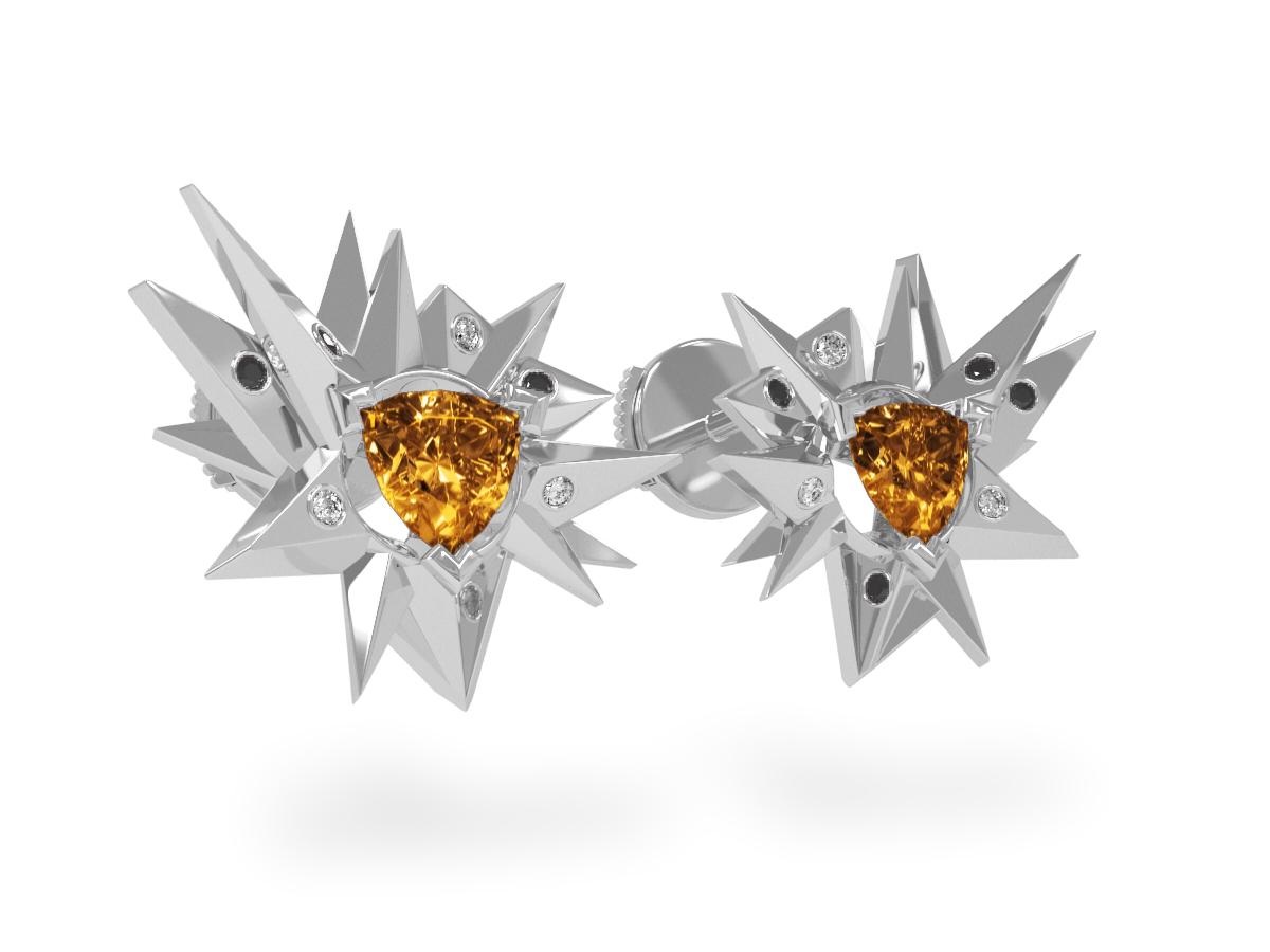 Boucles d'oreilles Fleur de Givre Sun Glacier Black & White - Diamants blancs et noirs - Citrine Trillion <br> Or blanc 18 carats