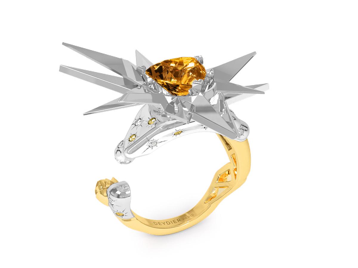 Bague Sun Glacier Yellow & White - Diamants blancs et jaunes - Citrine Trillion <br> Or blanc & jaune 18 carats
